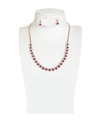 Pink Drop Crystal Rhinestones Jewelry Set …