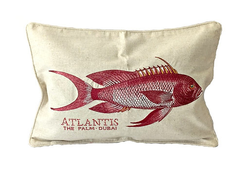 Elegant Embroidered Red Fish Throw Pillow Cover