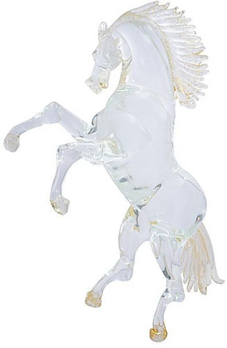 Crystal with Gold Trims Murano Glass Tall Horse