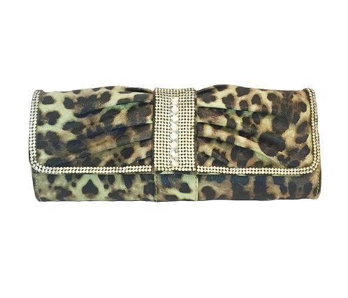 Elegant Leopard Print with Crystals Handbag