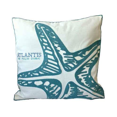 Elegant Embroidered Starfish Throw Pillow Cover