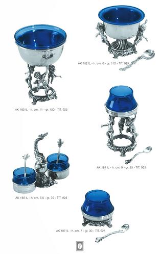 Salt & Pepper Silver Blue Glass Baroque Stand
