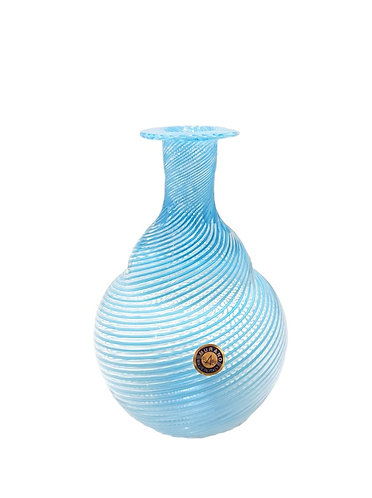 Murano Glass Blue Filigree Vase