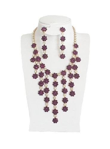Purple Crystal Rhinestone Flowers Jewelry Set