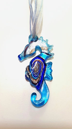 Blue Seahorse Glass Pendant