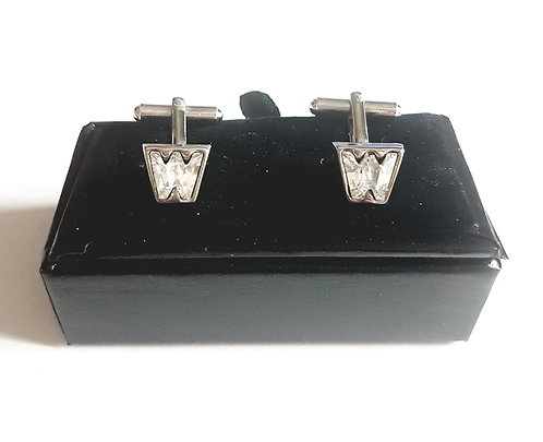 "Cufflinks Initials crystals ""W"" with Gift Velvet Box"