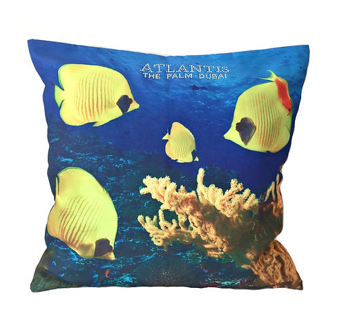 Sea Coral and Fish Design Cotton Throw Pillow Cover