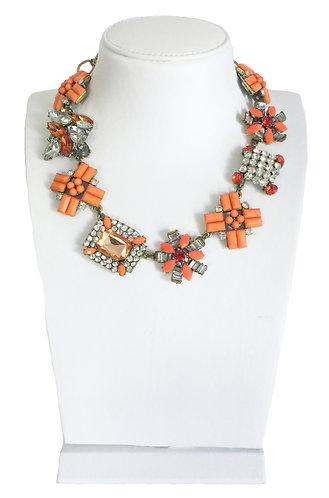 Orange Enamel Crystals VintageNecklace