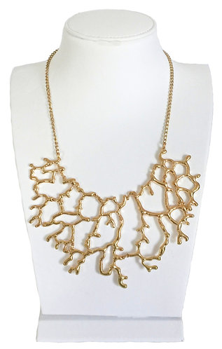 Gold Plated Vintage Alloy Hollow Coral Branches Necklace