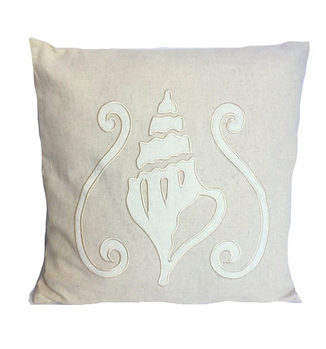 Cushion Pillow Linen Shell Embroidery