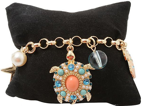 Turtle Charm Bangle Bracelet