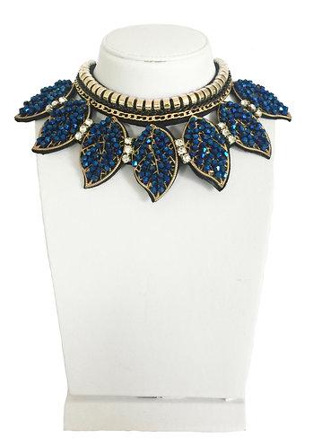 Sparkling Blue Crystals Leaves Necklace