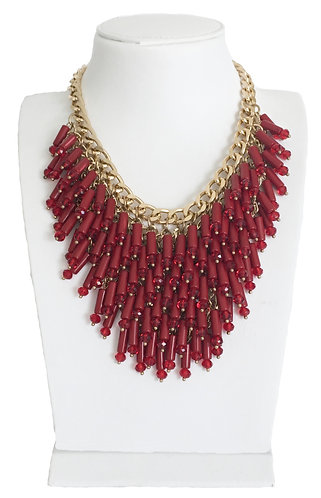 Trendy Red Beads Crystals Statement Necklace