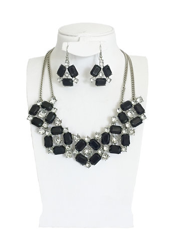 Black Enamel Crystals Jewelry Set …