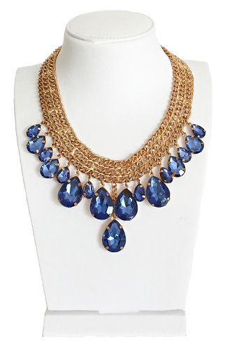 Blue Crystal Drops Statement Necklace