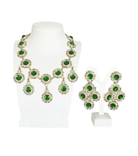 Luxury Green Drop Crystals Gold Plated Vintage Jewelry Set …