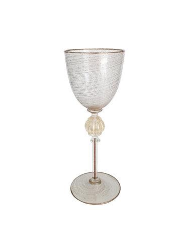 Murano Glass Aventurina Filigree Goblet
