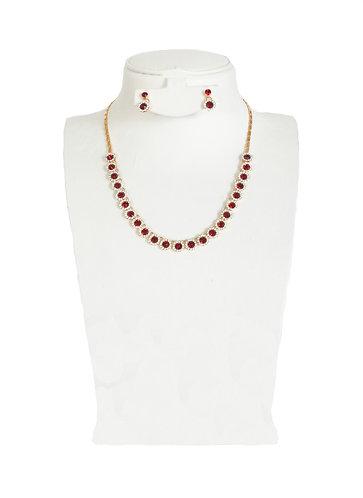 Red Drop Crystal Rhinestones Jewelry Set …
