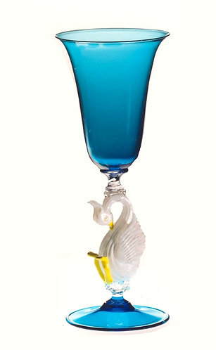 White Swan in Blue Murano Glass Goblet