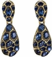 Vintage Earrings Blue Crystals
