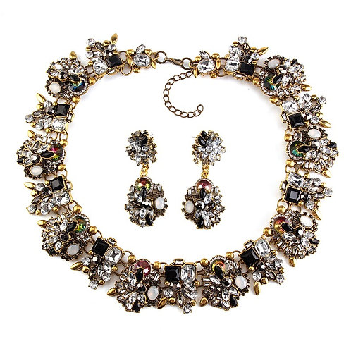 Vintage Crystals Set Necklace & Earrings