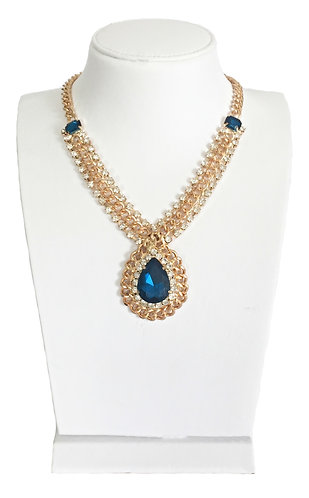 Gold Plated Blue Drop Pendant Necklace