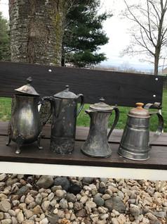 vintage silver plate teapots