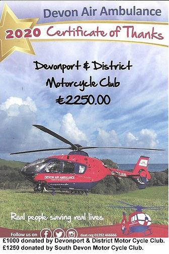Devon Air Ambulance Trust Certificate 20