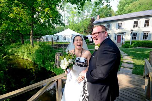 011C Wedding Over the Bridge Couple Laug