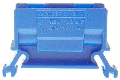Borne de dérivation Woertz 30840. 2.5mm² à vis, 24A, 11×35×45.5mm DIN35. bleu