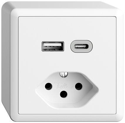Prise AP USB type A+C + type 13 Feller EDIZIOdue FX54 230V 3000mA blanc
