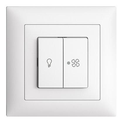 Interrupteur ENC pour lum.et ventilat. EDIZIOdue blanc, contrôle, LED jaune