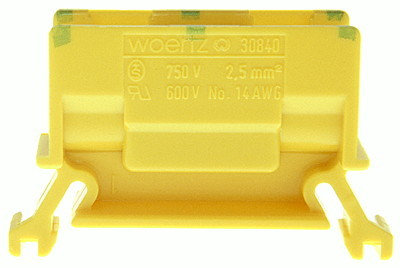 Borne de dérivation Woertz 30840. 2.5mm² à vis 24A 11×35×45.5mm DIN35 vert-jaune