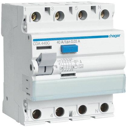 Interrupteur différentiel Hager 40A 30mA 3LN