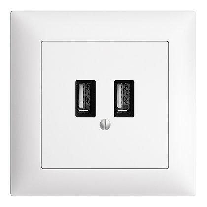 Prise d.charge USB ENC EDIZIOdue FMI, 230VAC, 1×3000mA/2×1500mA, 2×USB type A,bc