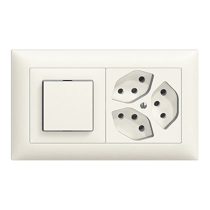 Combinaison ENC EDIZIOdue 3/1P+3×T13 blanc, horizontale