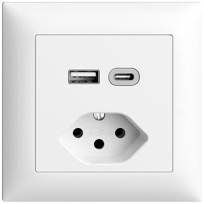 Prise ENC USB type A+C + type 13 Feller EDIZIOdue FMI 230V 3000mA blanc