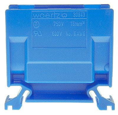 Borne de dérivation Woertz 30843, 16mm² à vis, 76A, 16.5×44×50mm DIN35, bleu