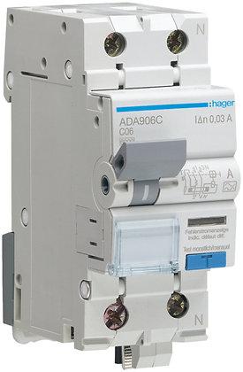 Disjoncteur différentiel Hager C 6A 30mA P+N