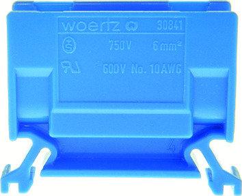 Borne de dérivation Woertz 30841, 6mm² à vis, 41A, 12.5×35×46.5mm DIN35, bleu