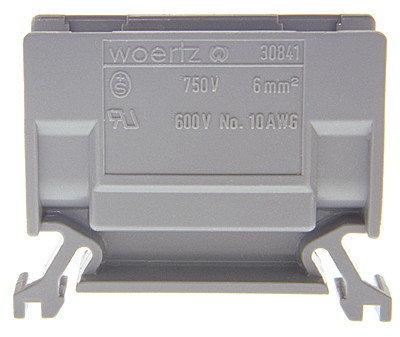 Borne de dérivation Woertz 30841, 6mm² à vis, 41A, 12.5×35×46.5mm DIN35, gris