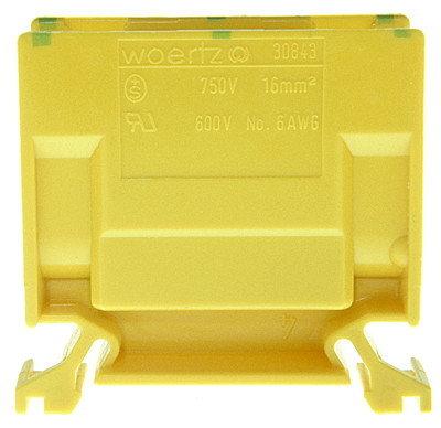 Borne de dérivation Woertz 30843, 16mm² à vis 76A 16.5×44×50mm DIN35, vert-jaune