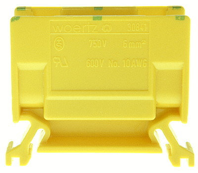 Borne de dérivation Woertz 30841, 6mm² à vis 41A 12.5×35×46.5mm DIN35 vert-jaune