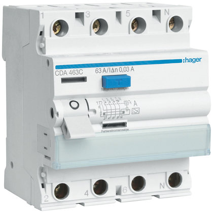 Interrupteur différentiel Hager 63A 30mA 3LN