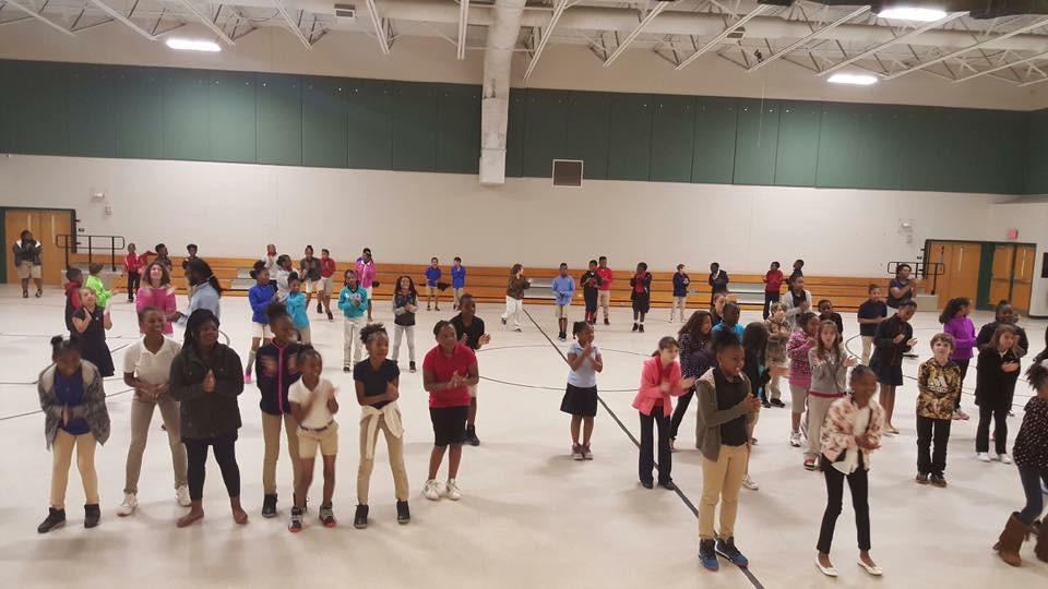 Students participating in Zumba exercises.