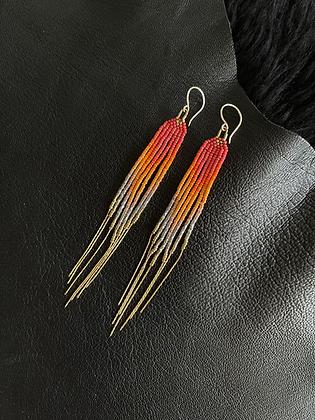 """""""Sunset Golden Ginger"""" 14K Gold Filled Seed Bead Fringe Earrings"""