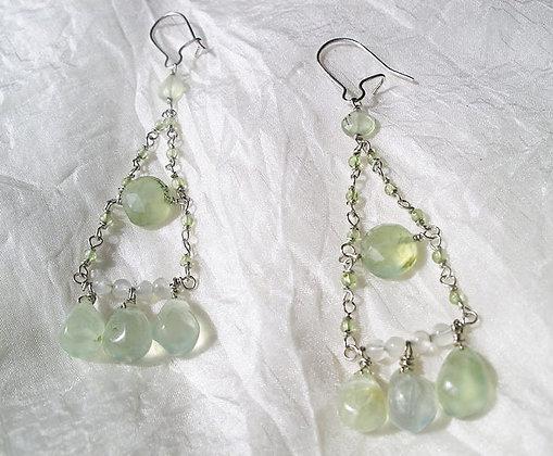 Prehnite Moonstone Earrings
