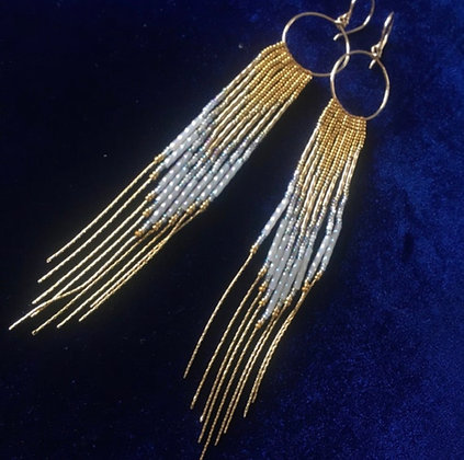 White and Gold Seed Bead Earrings 14K gold filled Hoop, beads & chain fringe
