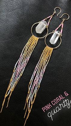 Maui Swan Designs Handmade Pink Coral  Quartz Pendant Seed Bead Earrings 14K gol