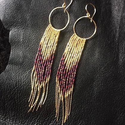 Golden Burgandy Hoop & Chain Fringe Earrings